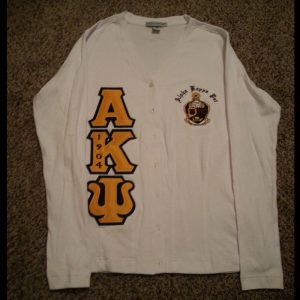 Alpha Kappa Psi White/Gold Cardigan