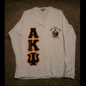 Alpha Kappa Psi White/Navy Cardigan