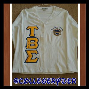 Tau Beta Sigma White Cardigan With Gold Letters