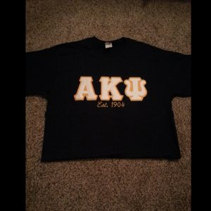 Alpha Kappa Psi Navy Shirt With White Letters