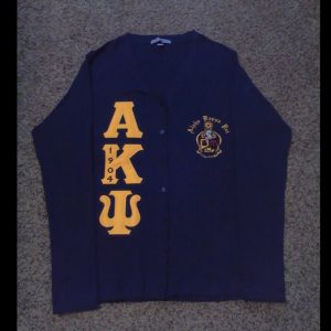 Alpha Kappa Psi Navy Cardigan With Gold/Navy Letters