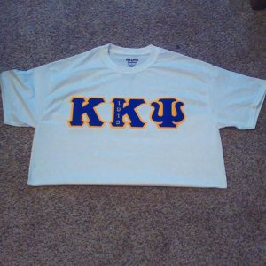 Kappa Kappa Psi White Shirt with Blue and Gold Letters