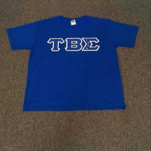 Tau Beta Sigma Blue Shirt All B/W letters