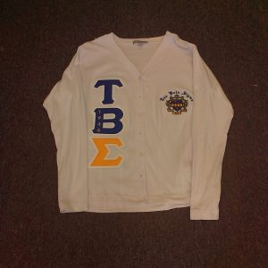 Tau Beta Sigma White Cardigan With Gold Sigma