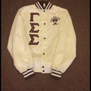 Gamma Sigma Sigma White Satin Jacket M&W Letters