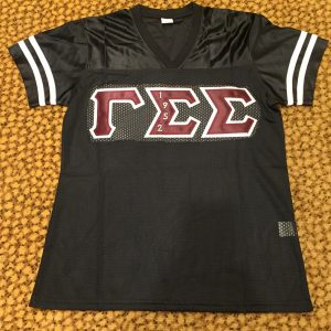 Gamma Sigma Sigma Black Football Jersey Embrodiery letters