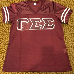 Gamma Sigma Sigma Maroon Football Jersey Embrodiery letters