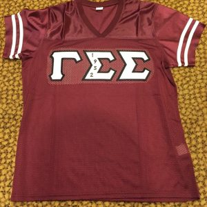 Gamma Sigma Sigma Maroon Football Jersey W/B Embrodiery letters
