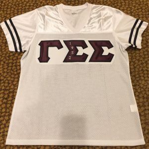Gamma Sigma Sigma White Football Jersey Embrodiery letters