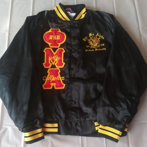Phi Mu Alpha Blk Satin Jacket/ (writing on letters)