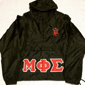 Mu Phi Sigma Black Pullover Jacket R/W Letters