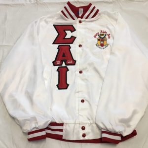 Sigma Alpha Iota White Satin Jacket Red/Blk Letters