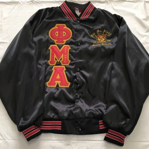 Phi Mu Alpha Black Satin Red/Wht Trim Jacket