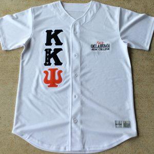Kappa Kappa Psi White Baseball Jersey Blk/Org letters
