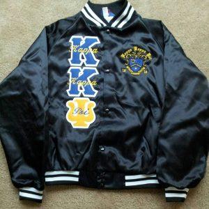Kappa Kappa Psi Blk Satin Jacket (writing on letters)