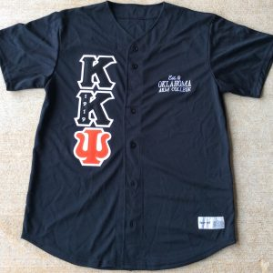 Kappa Kappa Psi Black Baseball Jersey Blk/Org letters