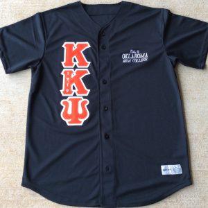 Kappa Kappa Psi Black Baseball Jersey Orange letters