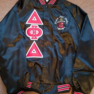 Delta Phi Delta Blk/Red Trim Satin Jacket