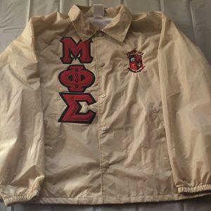 Mu Phi Sigma Khaki Jacket Red/Blk Letters