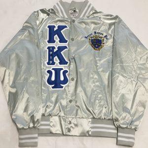 Kappa Kappa Psi Metallic Silver Satin Jacket B/W Letters