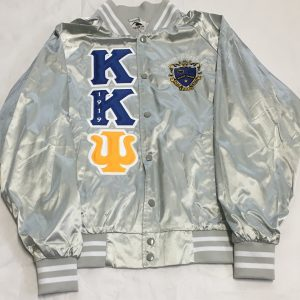 Kappa Kappa Psi Metallic Silver Satin Jacket Gold/Psi