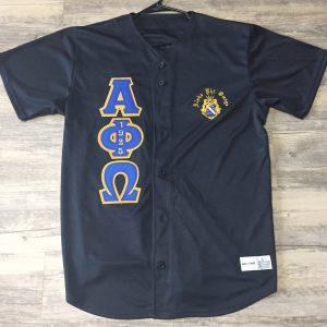 Alpha Phi Omega Black Baseball Jersey