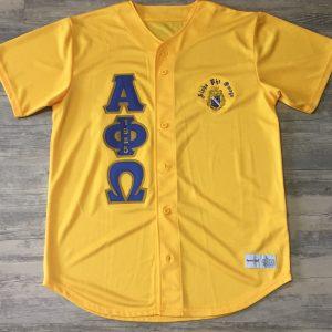 Alpha Phi Omega Gold Baseball Jersey