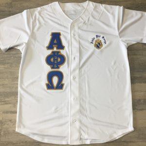 Alpha Phi Omega White Baseball Jersey
