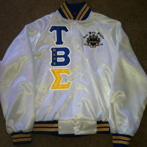 Tau Beta Sigma White Satin Jacket B/G Trim