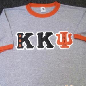 Kappa Kappa Psi (Custom Color) Grey/Orange Ringer Tee
