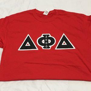 Delta Phi Delta Red T-shirt White/Bk Letters