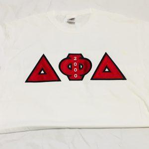 Delta Phi Delta White T-shirt R/Blk Letters