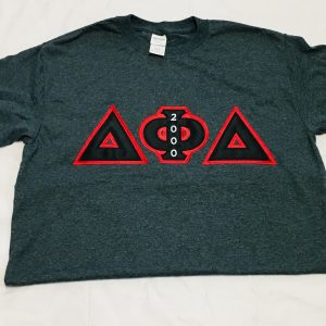 Delta Phi Delta Smoke Grey Shirt Blk/Red Letters